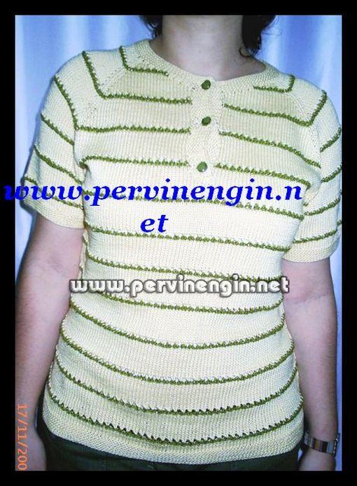 SARI BLUZ (yeşil simli çizgili )