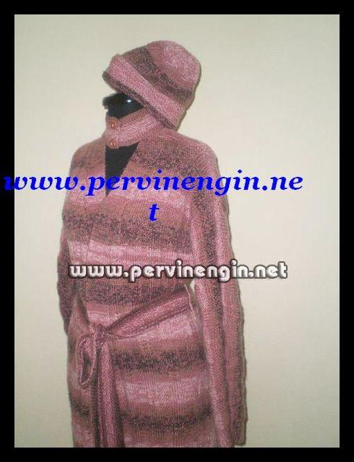 PEMBE-GRİ EBRULİ  UZUN HIRKA veya MANTO(yarasa kollu)