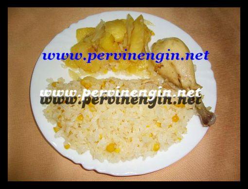 MISIRLI PİLAV   ( sade,tavuklu ve elma soslu)